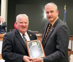 Retiring Auburn Hills Mayor Jim McDonald with City Manager Pete Auger - 11-18-13 Council Meeting
